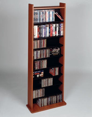 CD-500C (Multimedia storage rack-Cherry with black shelves)
