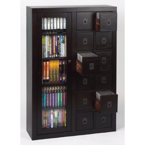 GLO6-0518-ES (Glass Door Solid Oak Multimedia Storage Espresso)