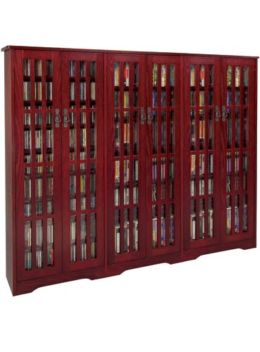 M-1431DC Mission style siding glass door multimedia cabinet-Dark Cherry