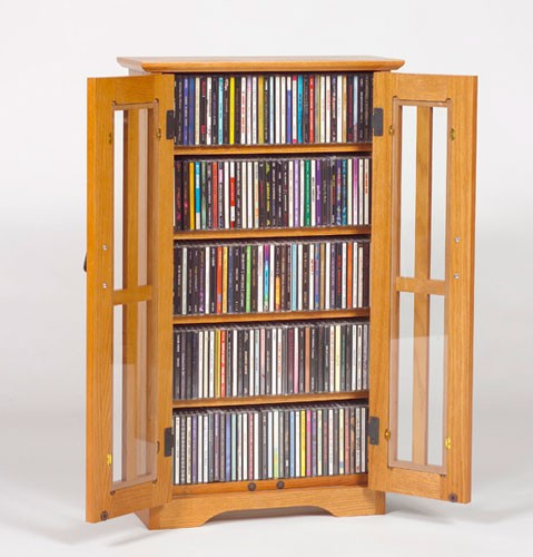 M-190 Missionstyle glass door mounted multimedia cabinet-Oak