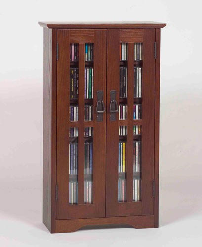 M-190WAL (Missionstyle glass door mounted multimedia cabinet)-walnut