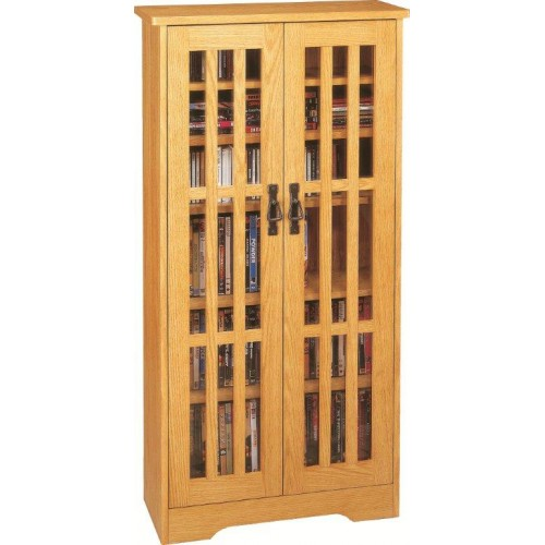 M-371 (Inlaid Glass Door Mission Cabinet)-Oak