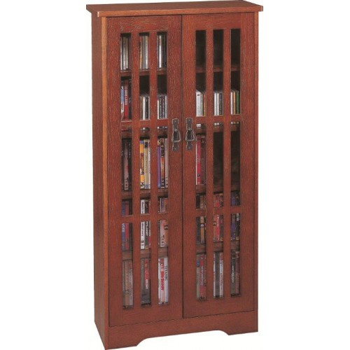 M-371W (Inlaid Glass Door Mission Cabinet Walnut)