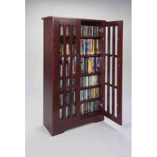 M-371DC (Inlaid Glass Door Mission Cabinet Dark Cherry)