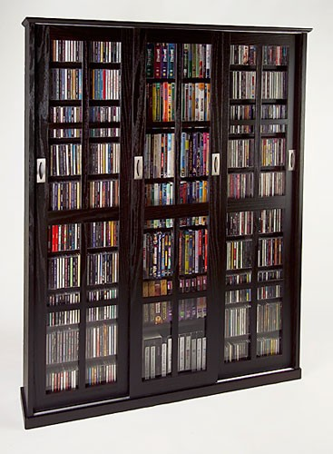 MS-1050DC (Mission style siding glass door multimedia cabinet dark cherry)