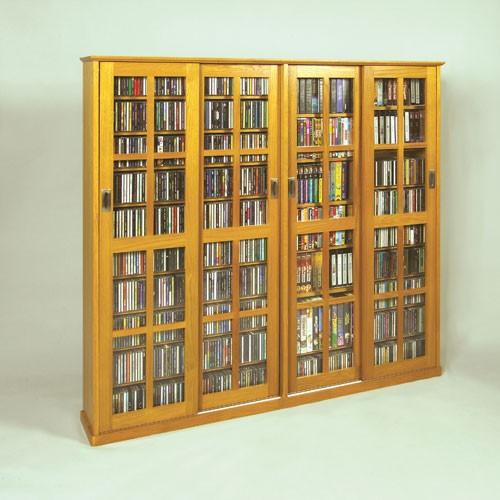 MS-1400 Mission style siding glass door multimedia cabinet-Oak