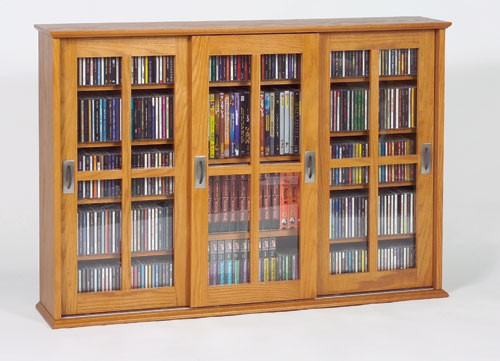 MS-525 Mission style sliding glass door multimedia cabinet - Oak